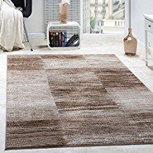 Paco Home Alfombra De Salón Moderna De Diseño De Velour Corto A Cuadros Marrón Y Beige, tamaño:60x100 cm