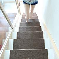 Alfombras de escaleras. Alfombra japonesa marrón. Alfombra de escaleras. Alfombras antideslizantes. 5 pcs. Tamaño : 55 x 24.5 cm