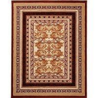 Alfombra comedor grandes, alfombra marrón, alfombra oriental. Tamaño: 250 x 300 cm