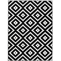 Alfombra XL Grandes Negro-Blanco, alfombra moderna, alfombra comedor geométrica. Tamaño: 300 x 400 cm