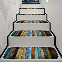 Alfombra antideslizante lavable para escalera con parte trasera de goma. Especial para escalones de madera en interiores. Tamaño: 70 x 22 x 1 cm