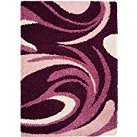 Alfombra pelo largo 50 mm, alfombra grandes comedor morada, alfombra moderna para comedor , alfombras con olas: 220 x 320 cm