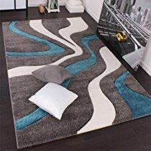 PHC Alfombra De Diseño Perfilado - Estampado De Ondas - Gris Turquesa Blanco, tamaño:160x230 cm