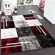 PHC Alfombra Moderna De Diseño Perfilado - A Cuadros En Gris Negro Rojo, tamaño:120x170 cm