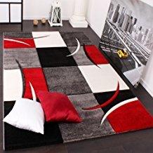 PHC Alfombra De Diseño Perfilado - A Cuadros En Rojo Negro, tamaño:160x230 cm