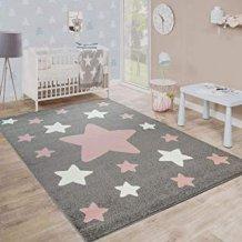 Alfombra para habitaci/ón Infantil TT Home 80 x 150 cm Color Gris dise/ño de Estrellas